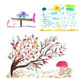 Акварель чертежей детей Стоковые Фотографии RF
