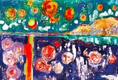 Акварель, эскиз, краска, животные, иллюстрация Стоковые Фото