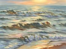 Акварель seascape вечера Стоковое Фото
