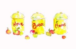 Акварель Seth консервирует дом nadpistyu домашний сладостный Иллюстрация акварели для вашего дизайна Стоковая Фотография RF