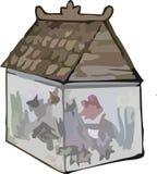 Аквариум с clipart крыши стоковая фотография
