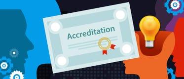 Аккредитация утвердила бумагу сертификата дела организации с штемпелем Стоковые Изображения RF