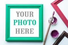 акриловая краска painbrushe рамки Стоковая Фотография RF