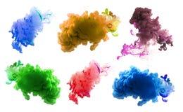 Акриловые цвета и чернила в воде абстрактная предпосылка Стоковая Фотография