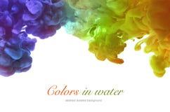 Акриловые цвета и чернила в воде абстрактная рамка предпосылки Стоковое фото RF