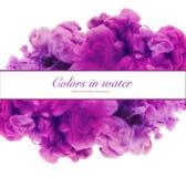 Акриловые цвета и чернила в воде абстрактная рамка предпосылки Isol Стоковая Фотография