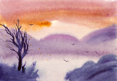 акриловые цветы имеют вал изображения гор себя ландшафта I покрашенный иллюстрация вектора