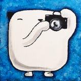 Акриловый фотограф плюшевого медвежонка белизны изображения Стоковые Изображения