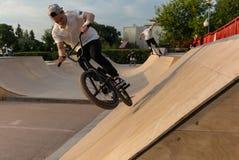 Акробатика велосипеда в парке Gorky Стоковая Фотография RF