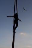 Акробат женщины на гамаке Стоковая Фотография