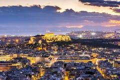 Акрополь Афин на ноче Стоковые Фото