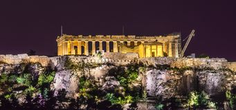 Акрополь на ноче Стоковая Фотография RF