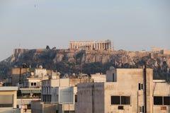 Акрополь увиденный от Афин Стоковое Изображение RF