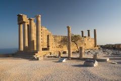 Акрополь Lindos, древний храм в Родосе Стоковое Изображение