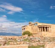Акрополь виска Erechtheion, Афины, Греция, панорамное изображение стоковое фото rf