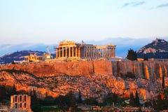 Акрополь в Афинах, Греции в вечере Стоковое фото RF