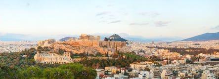 Акрополь в утре после восхода солнца Стоковое Изображение