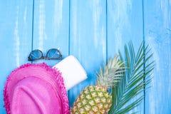 Аксессуары для праздников, шляпы, стекел солнца и документов Голубая деревянная ветвь предпосылки и ладони Открытый космос для те стоковая фотография rf