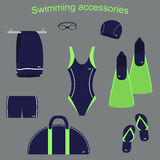 Аксессуары и одежда для бассейнов иллюстрация штока