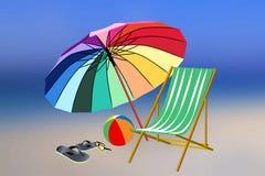 Аксессуары пляжа на запачканной предпосылке Стоковые Фото