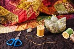 Аксессуары для заплатки на лоскутном одеяле Стоковое Изображение RF