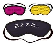Аксессуар ночи спать вектора маски глаза ослабляет resst в путешествовать набор иллюстрации мультфильма предохранения от стороны  бесплатная иллюстрация