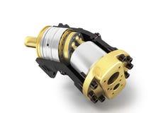 Аксиальнопоршневой гидравлический мотор 3d представляет на белой предпосылке иллюстрация вектора