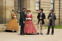 Актеры одетые как отцы и дамы конфедерации в Charlot стоковые фотографии rf