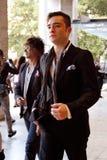Актер Ed Westwick приезжая на центр Линкольна, Нью-Йорк Стоковые Изображения RF