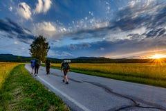 Активная группа в составе hikers Стоковая Фотография