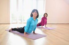 Активная sportive зрелая женщина делая тренировку handstand практикуя представление планки Стоковая Фотография