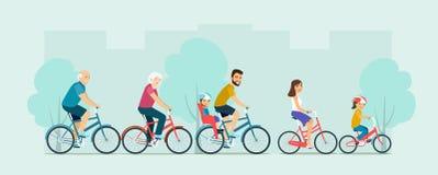 Активное катание семьи на велосипедах иллюстрация штока