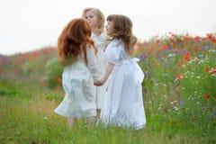 Активные маленькие девочки играя на зеленой траве Стоковое фото RF