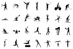 активные олимпийские люди silhouettes спорт Стоковое фото RF