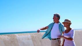 Активные старшии идя для прогулки морем видеоматериал