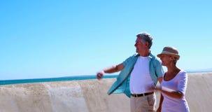 Активные старшии идя для прогулки морем сток-видео