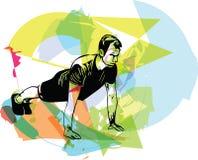 Активный делать молодого человека нажим-поднимает в спортзале иллюстрация штока