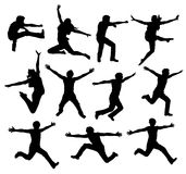 активный силуэт людей Стоковая Фотография RF