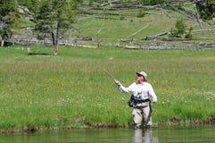 активный старший рыболова Стоковая Фотография