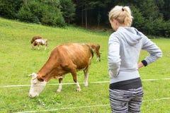 Активный sporty женский hiker наблюдающ и ласкающ pasturing коровы на луге Стоковое Изображение RF