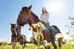 2 активных молодой женщины тренируя верховые лошадей Стоковые Фотографии RF