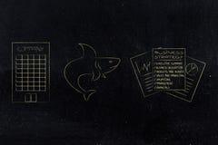 Акула рядом с документами и штабами стратегии бизнеса бесплатная иллюстрация