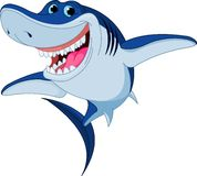 акула шаржа смешная Стоковое Изображение RF