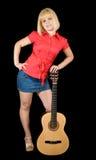 акустическая гитара девушки Стоковая Фотография