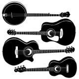 акустические гитары банджо иллюстрация вектора