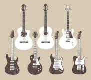 Акустические и электрические гитары Стоковые Изображения RF