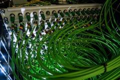 Акустический тональнозвуковой кабель аудио зеленого цвета сервера кабеля Много акустических кабелей Коаксиальный кабель для серве Стоковое Изображение