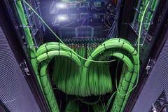 Акустический тональнозвуковой сервер кабеля тональнозвуковой зеленый цвет кабеля Много акустических кабелей Кабель ¡ Ð oaxial для стоковая фотография rf