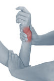 Акутовая боль в запястье руки женщины. Стоковые Изображения RF