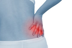 акутовая женщина боли в спине стоковое фото